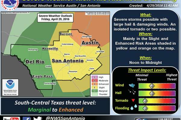 Large hail and damaging winds could befall the San Antonio area as showers and thunderstorms through the region Friday afternoon, the National Weather Service said.