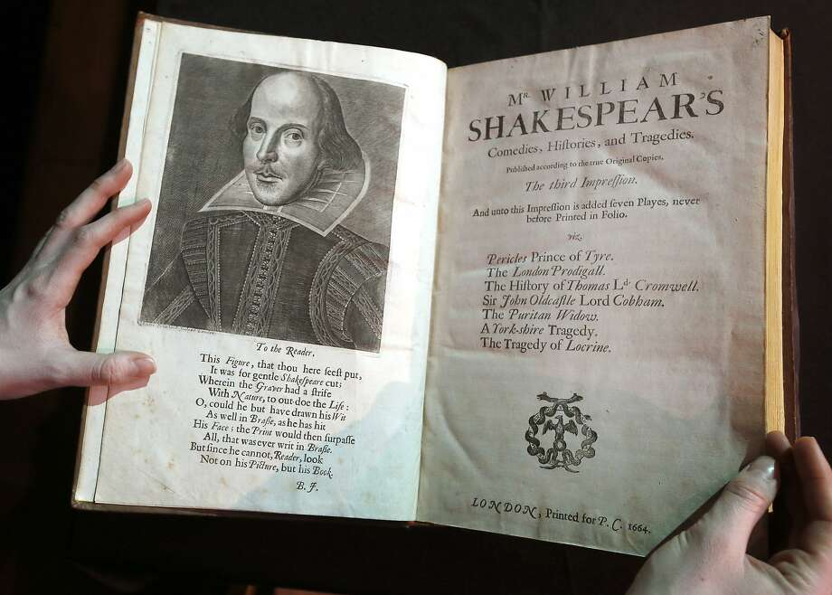 "FILE - In this March 16, 2016, file photo, a portrait of William Shakespeare is seen in the Third Folio, in London. William Shakespeare died 400 years ago Saturday, April 23, an anniversary marked across the ""sceptered isle"" and across the pond. And sports, like much else, is in Shakespeare's debt.  (AP Photo/Kirsty Wigglesworth, File) Photo: Kirsty Wigglesworth, Associated Press"