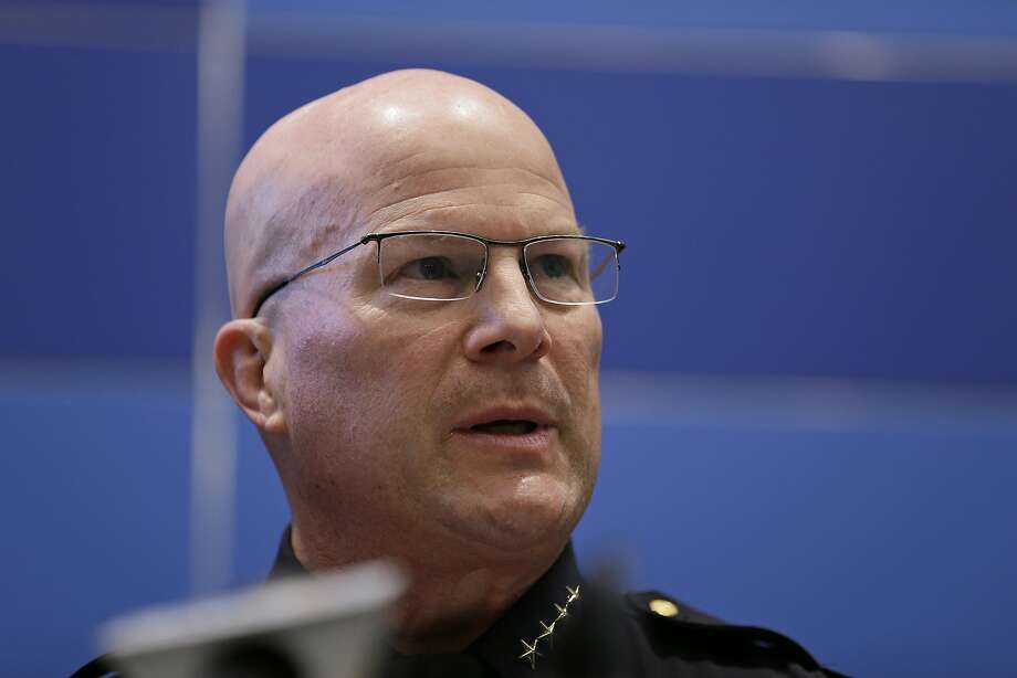 San Francisco Police Chief Greg Suhr speaks during a news conference Friday, April 29, 2016, in San Francisco. Suhr ordered that all officers attend an anti-harassment class, as he released more transcripts of a former lieutenant and two former officers exchanging racist text messages. The department later announced an officer was arrested Friday for providing false information on a DMV confidentiality form. Photo: Eric Risberg, Associated Press