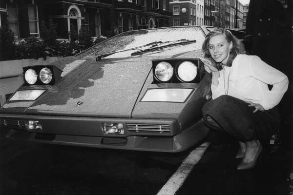 6th October 1981:  Erica Sandon-Humphries with the Lamborghini Jalpa which has a top speed of 160 mph and costs ?28, 000.  (Photo by David Wimsett/Keystone/Getty Images)