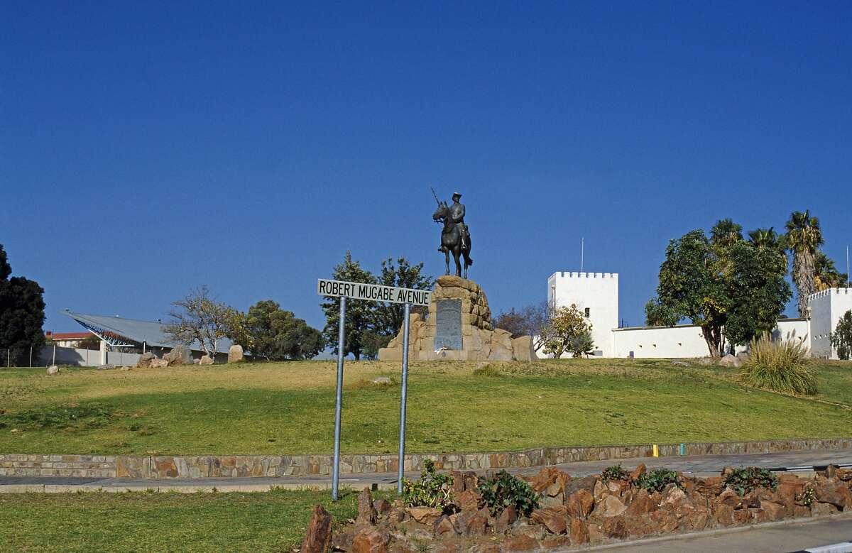 Namibia, Windhoek. River Memorial, General von Trotha, pacified the Herero & Nama people, 1904-1907. Alte Feste Fort behind