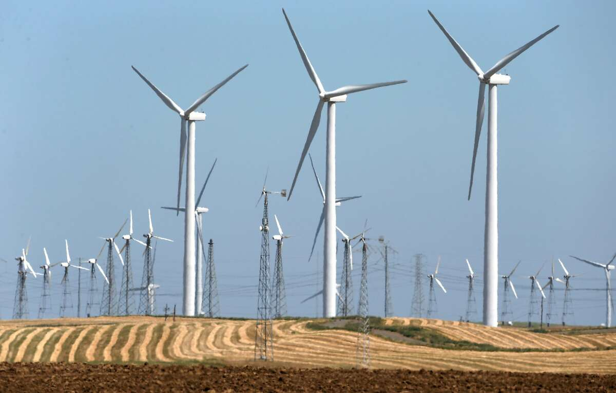 Wind turbines generate power in and around the Iberdrola Renewables Shilo wind power farm in Birds Landing, Calif. on Friday, April 29, 2016. The San Francisco PUC's CleanPowerSF program goes fully operational in May.