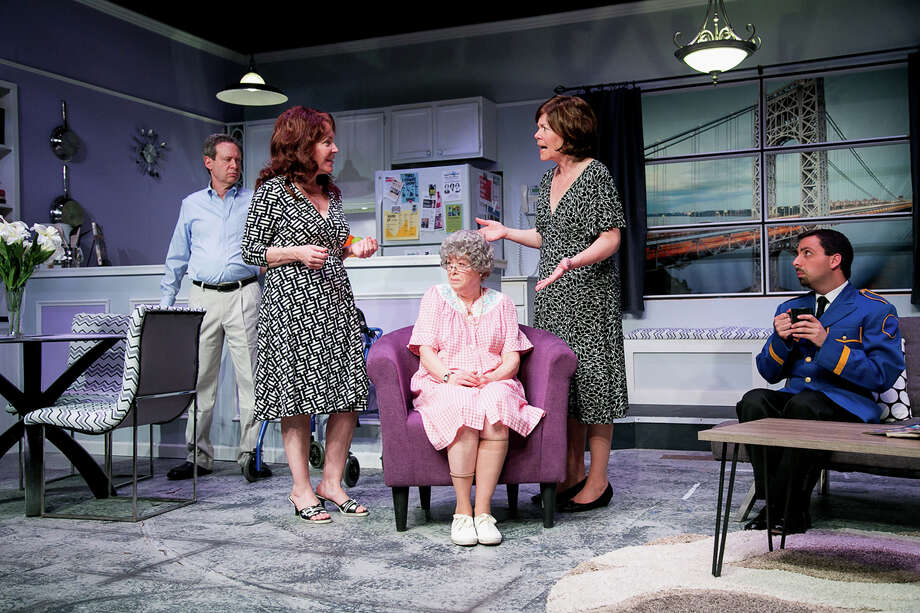 """The Tale of The Allergist's Wife"" is on stage at TheatreWorks New Milford, Friday, May 6, through Sunday, May 22. From left are Mitch Prywes as Dr. Ira Taub, Rosemary Howard as Lee Green, Jody Bayer as Freida, MJ Hartell as Marjorie Taub, and Matt Austin as Mohammed. Photo: Contributed Photo / Rich Pettibone"