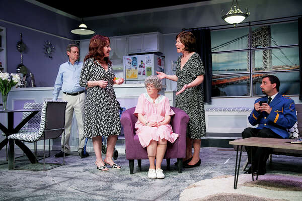 """The Tale of The Allergist's Wife"" is on stage at TheatreWorks New Milford, Friday, May 6, through Sunday, May 22. From left are Mitch Prywes as Dr. Ira Taub, Rosemary Howard as Lee Green, Jody Bayer as Freida, MJ Hartell as Marjorie Taub, and Matt Austin as Mohammed."