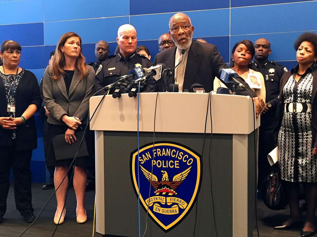 Rev. Amos Brown, president of the San Francisco chapter of the NAACP, speaks to the media on Friday, April 29, 2016 at a news conference where Police Chief Greg Suhr released transcripts from the most recent sent of racist and homophobic text messages to emerge from his department.