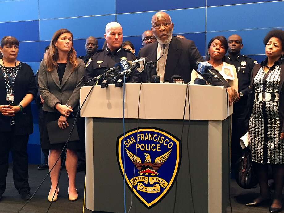 The Rev. Amos Brown, president of the San Francisco chapter of the NAACP, speaks at the police news conference. Photo: Vivian Ho, The Chronicle