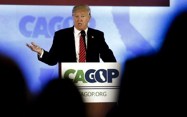 Republican Presidential candidate Donald Trump kicks off  the California Republican Party convention on Fri. April 29, 2016, in Burlingame, California.