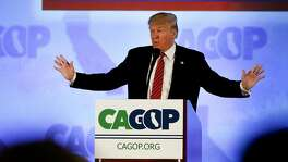 Republican Presidential candidate Donald Trump kicks off  the California Republican Party convention on Fri. April 29, 2016, in Burlingame, California.