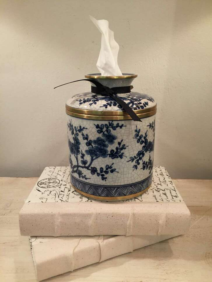 Classic blue and white porcelain tissue container with gold embellishment, $98 at Memorial Antiques &nteriors.