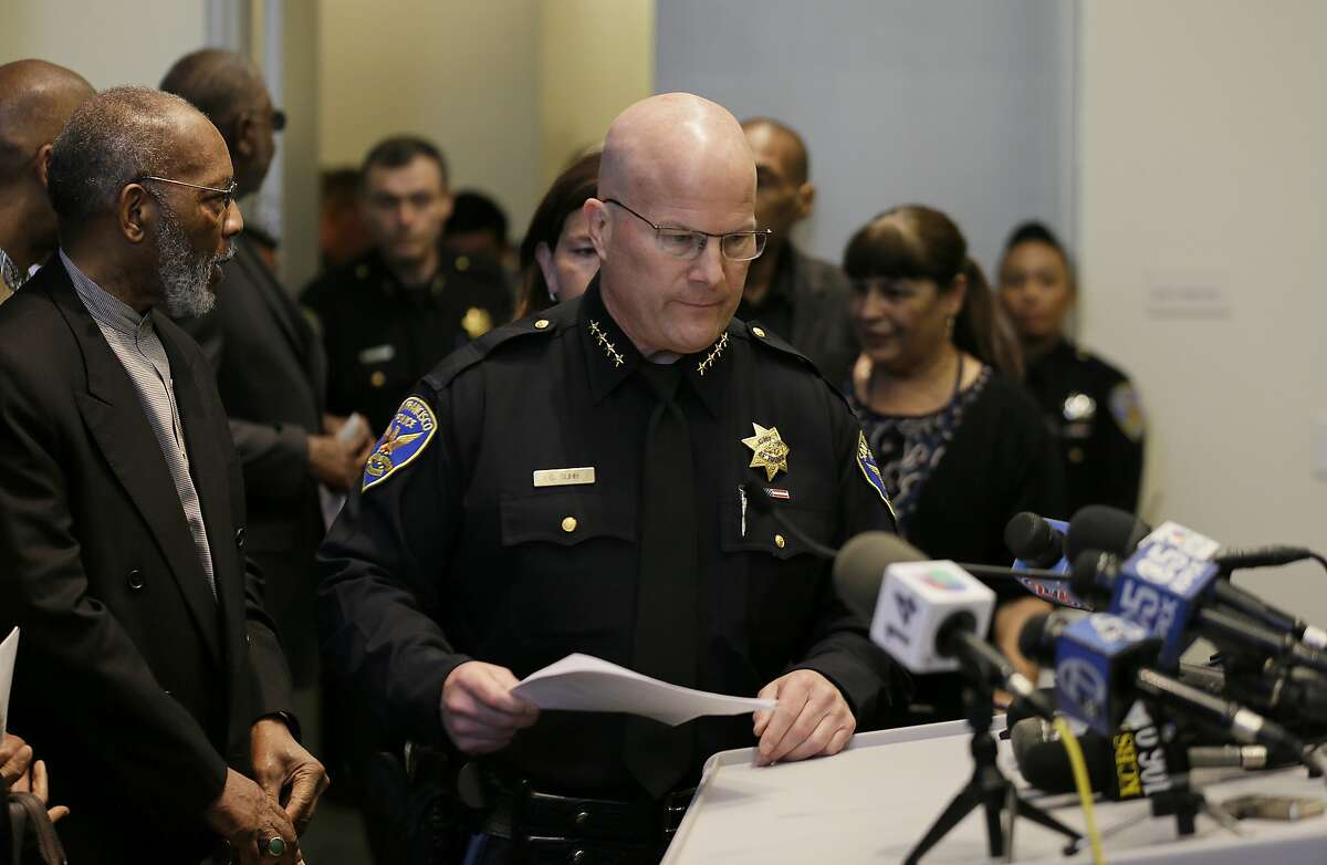 San Francisco Police Chief Greg Suhr makes his way to a podium before the start of a news conference Friday, April 29, 2016, in San Francisco. Suhr ordered that all officers attend an anti-harassment class, as he released more transcripts of a former lieutenant and two former officers exchanging racist text messages. (AP Photo/Eric Risberg)
