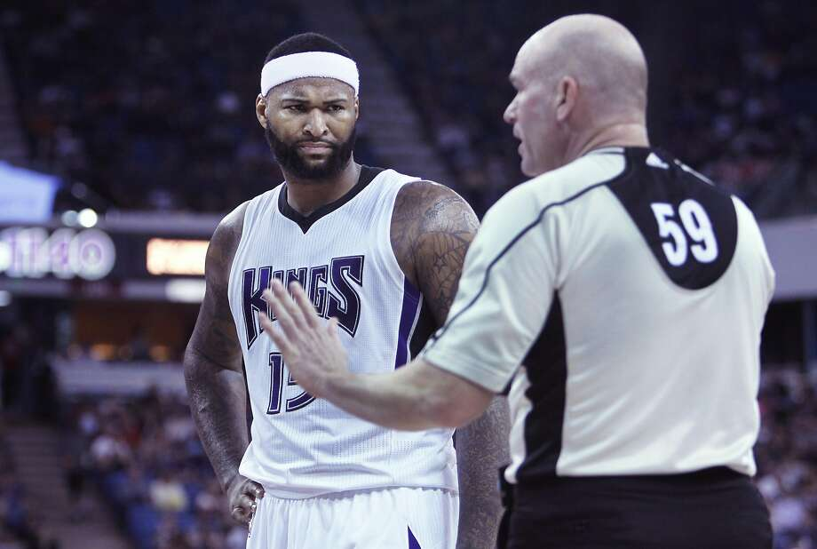 Sacramento Kings center DeMarcus Cousins chats with official Gary Zielinski during the second half of an NBA basketball game against the Dallas Mavericks in Sacramento, Calif., Sunday, March. 27, 2016. The Kings won 133-111. (AP Photo/Steve Yeater) Photo: Steve Yeater, AP