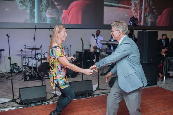 Ria Gerger and David Gerger hit the dance floor after performing at the Story of Love gala benefiting the Zina Garrison Tennis Academy.