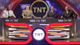 "The ""Inside the NBA"" team inside the TNT Studios. From left to right, former NBA center Shaquille O'Neal, Erine Johnson, former Rocket Kenny Smith and former Rocket Charles Barkley. O'Neal recently called Mayor Ivy Taylor ""hot"" and Barkley returned to slamming San Antonio women as fat. Both are sexist remarks."