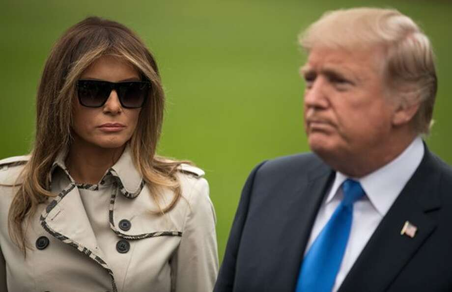 President Donald Trump and first lady Melania Trump arrive on Air Force One at Corpus Christi International Airport in Corpus Christi, Texas, Tuesday, Aug. 29, 2017, for briefings on Hurricane Harvey relief efforts.