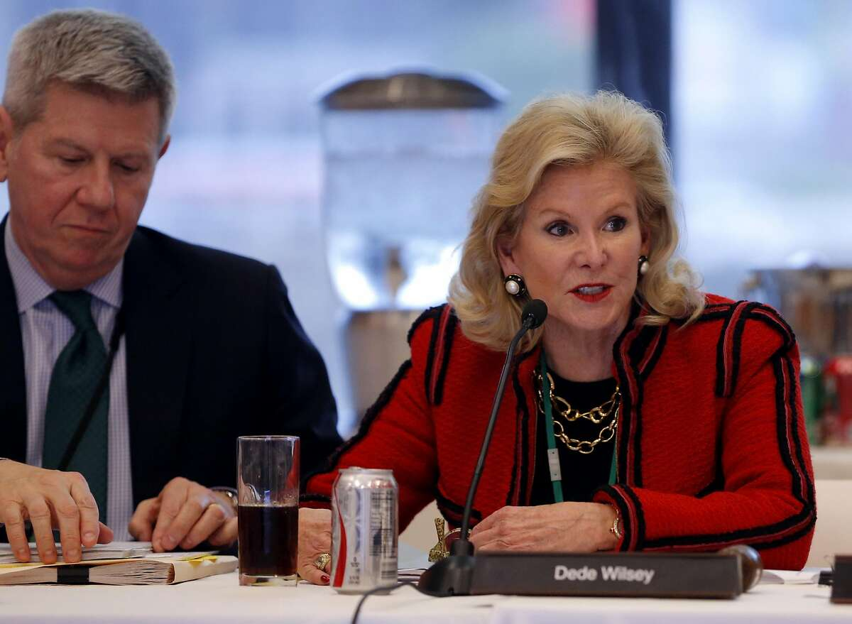 Dede Wilsey (right) speaks during a Board of Trustees for the Fine Arts Museums of San Francisco meeting at the de Young Museum in San Francisco on Tuesday, Jan. 26, 2016.