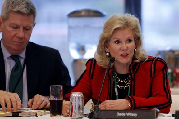 Dede Wilsey (right) speaks during a Board of Trustees for the Fine Arts Museums of San Francisco meeting at the de Young Museum in San Francisco, California, on Tuesday, Jan. 26, 2016.