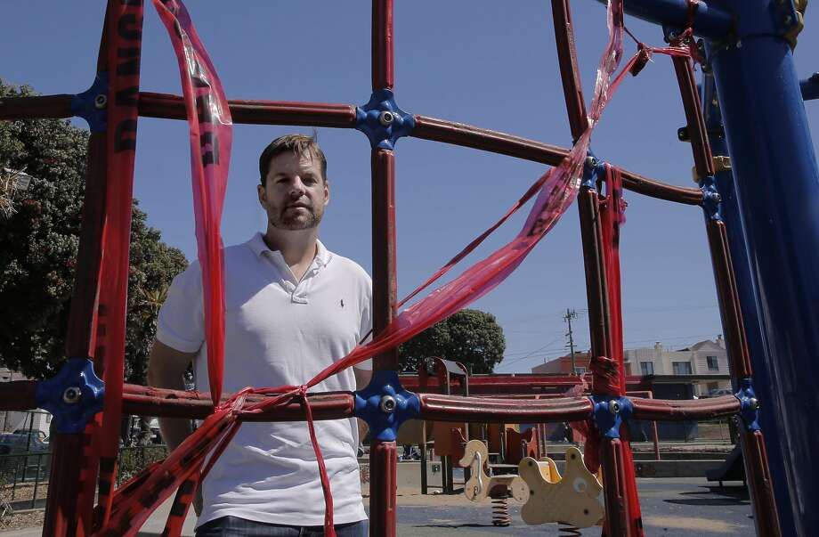 Supervisor Mark Farrel at the South Sunset Playground,  in San Francisco, Calif. on Sat. September 19, 2015, at one of the climbing pieces which has red danger tape covering it. San Francisco Supervisor Mark Farrell will formally introduce a ballot initiative for the June 2016 ballot, that will guarantee over $350 million of new dollars for the Recreation and Parks department. Photo: Michael Macor, The Chronicle