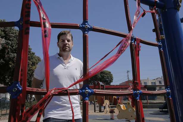 Supervisor Mark Farrel at the South Sunset Playground,  in San Francisco, Calif. on Sat. September 19, 2015, at one of the climbing pieces which has red danger tape covering it. San Francisco Supervisor Mark Farrell will formally introduce a ballot initiative for the June 2016 ballot, that will guarantee over $350 million of new dollars for the Recreation and Parks department.