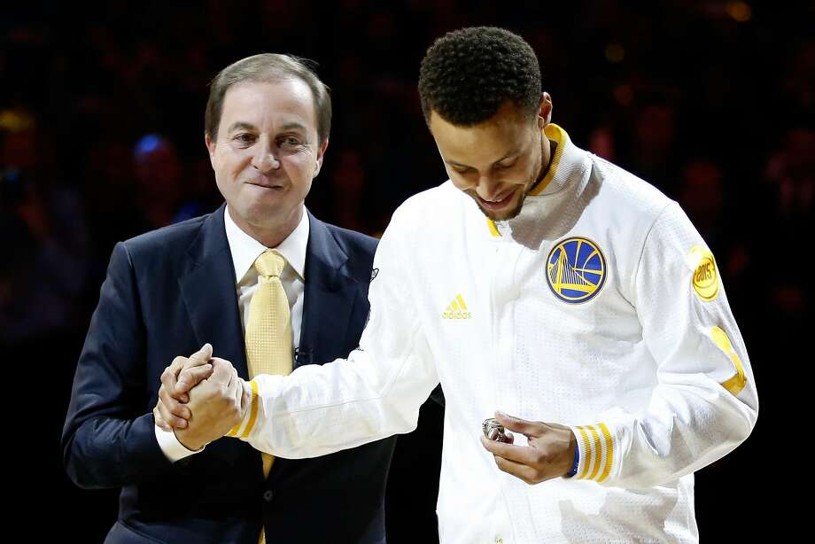 OAKLAND, CA - OCTOBER 27:  Stephen Curry #30 of the Golden State Warriors receives his championship ring from owner Joe Lacob prior to their game against the New Orleans Pelicans during the NBA season opener at ORACLE Arena on October 27, 2015 in Oakland, California. NOTE TO USER: User expressly acknowledges and agrees that, by downloading and or using this photograph, User is consenting to the terms and conditions of the Getty Images License Agreement.  (Photo by Ezra Shaw/Getty Images) Photo: Ezra Shaw, Getty Images