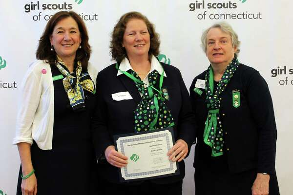 From left: Girl Scouts of Connecticut CEO Mary Barneby, Robin Edelston and Former GSOFCT Board President Caroline Sloat. Edelston of Greenwich, who serves on the Greenwich Service Unit of the Girl Scouts of Connecticut, recently received the GSUSA Appreciation Pin for her service at the Girl Scouts annual meeting. The pin is given to an adult volunteer who actively recognizes, understands and practices the values of inclusive behavior and who has delivered outstanding service to at least one geographic area or service unit within Connecticut. Edelston has been a Service Unit Manager for two years. In that time, she was instrumental in creating and maintaining a website for the Greenwich Service Unit providing every troop leader with links to GSOFCT forms, leader contact information and news of current service unit and community events.