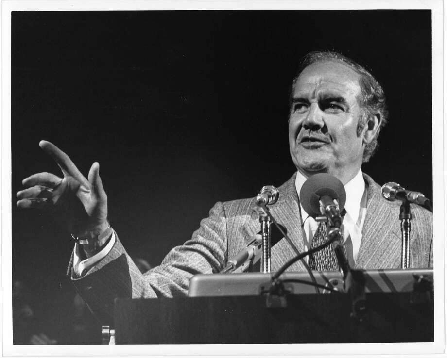 Democratic presidential candidate George McGovern campaigns at a Hermann Park rally in Houston in 1972. A decade later, he sought and lost the presidency again. Photo: Danny Connolly, HP Staff / Houston Post files