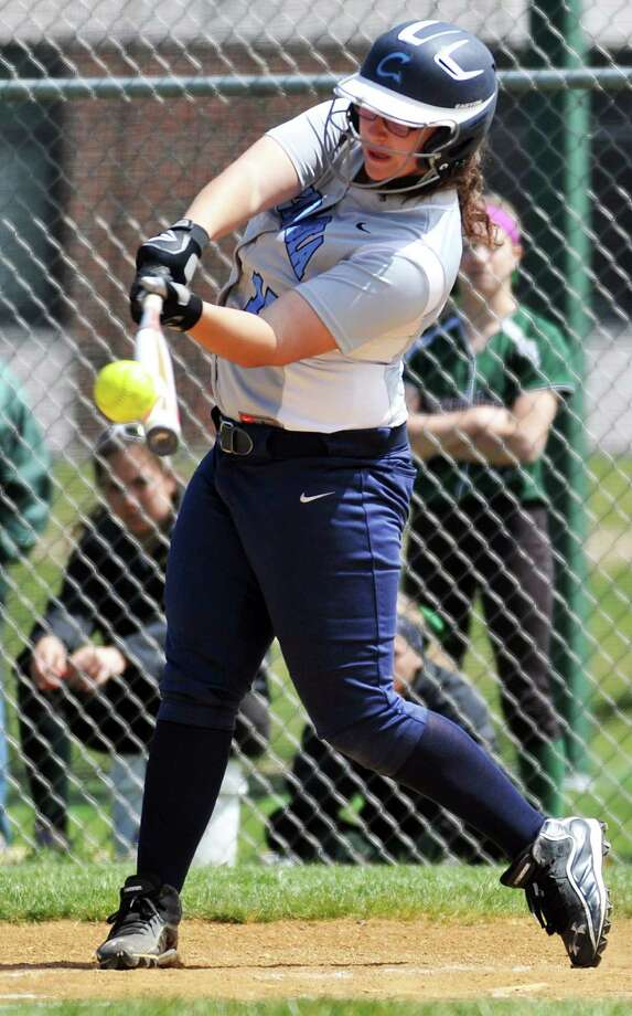 Jennah Hogan, softball player for Columbia High School, swings and hits the ball during their game against Shenendehowa High School. She would later hit a homerun for her team. Photo taken on Friday, April 29, 2016, in at Shenendehowa High School in Clifton Park, N.Y. (Brittany Gregory/Special to the Times Union) Photo: Brittany Gregory / 10036373A