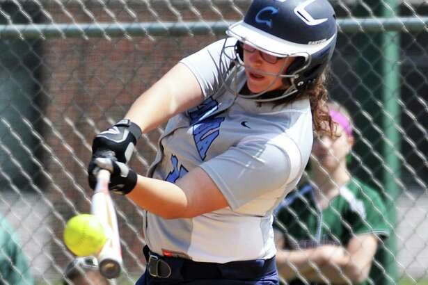 Jennah Hogan, softball player for Columbia High School, swings and hits the ball during their game against Shenendehowa High School. She would later hit a homerun for her team. Photo taken on Friday, April 29, 2016, in at Shenendehowa High School in Clifton Park, N.Y. (Brittany Gregory/Special to the Times Union)