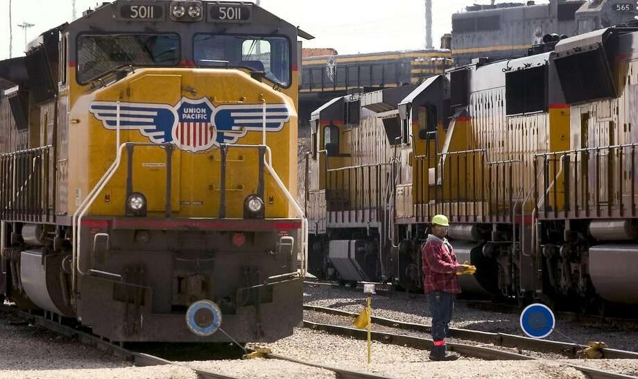 Two empty cars from a Union Pacific freight train derailed Friday, April 29, 2016 in Tracy. Photo: Bloomberg News File Photo
