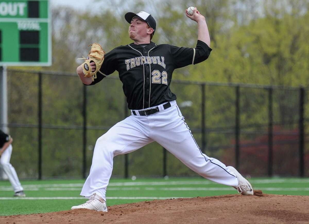 Chris O'Brien (22) of the Trumbull Eagles delivers a pitch during a game against the Norwalk Bears at Nathan Hale Middle School on April 29, 2016 in Norwalk, Connecticut.