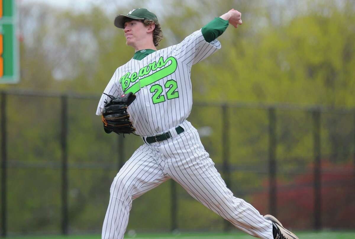 Ryan Searles (22) of the Norwalk Bears delivers a pitch during a game against the Trumbull Eagles at Nathan Hale Middle School on April 29, 2016 in Norwalk, Connecticut.