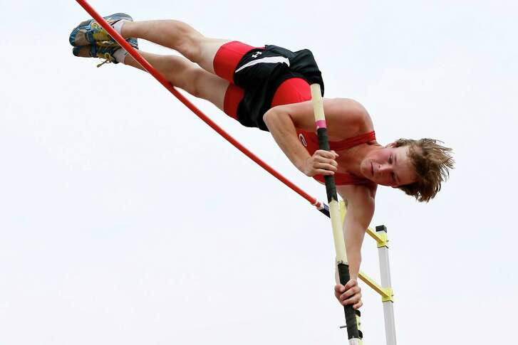 New Braunfels Canyon senior pole-vaulter Bailey Henderson attempts to clear 17-feet-0¼ during the Region IV-6A track meet Alamo Stadium. Henderson cleared 16-3 to set a new meet record.