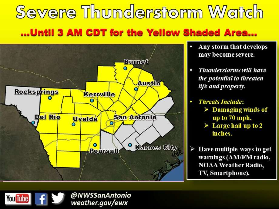 The National Weather Service has placed the San Antonio area on a severe thunder storm watch until 3 a.m.