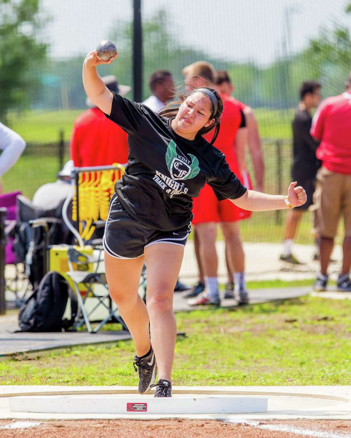 Cynthia Garza of throwing the put during the girls shot put competition during UIL Region II 6-A Track & Field Championship at the Challenger Columbia Stadium, Friday, Apr. 29, 2016, in Houston. (Juan DeLeon / For the Houston Chronicle)