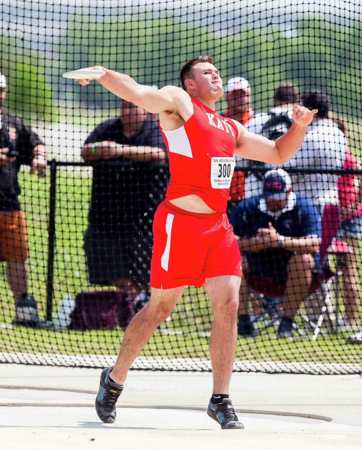 Michael Matius of Katy High School throwing the discus during the boys discus competition during UIL Region II 6-A Track & Field Championship at the Challenger Columbia Stadium, Friday, Apr. 29, 2016, in Houston. (Juan DeLeon / For the Houston Chronicle)