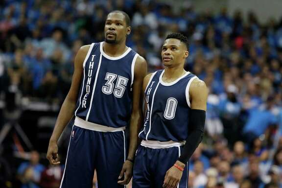 Forward Kevin Durant, left, led the Thunder in regular-season scoring with 28.2 points per game, while Russell Westbrook had 18 triple-doubles.