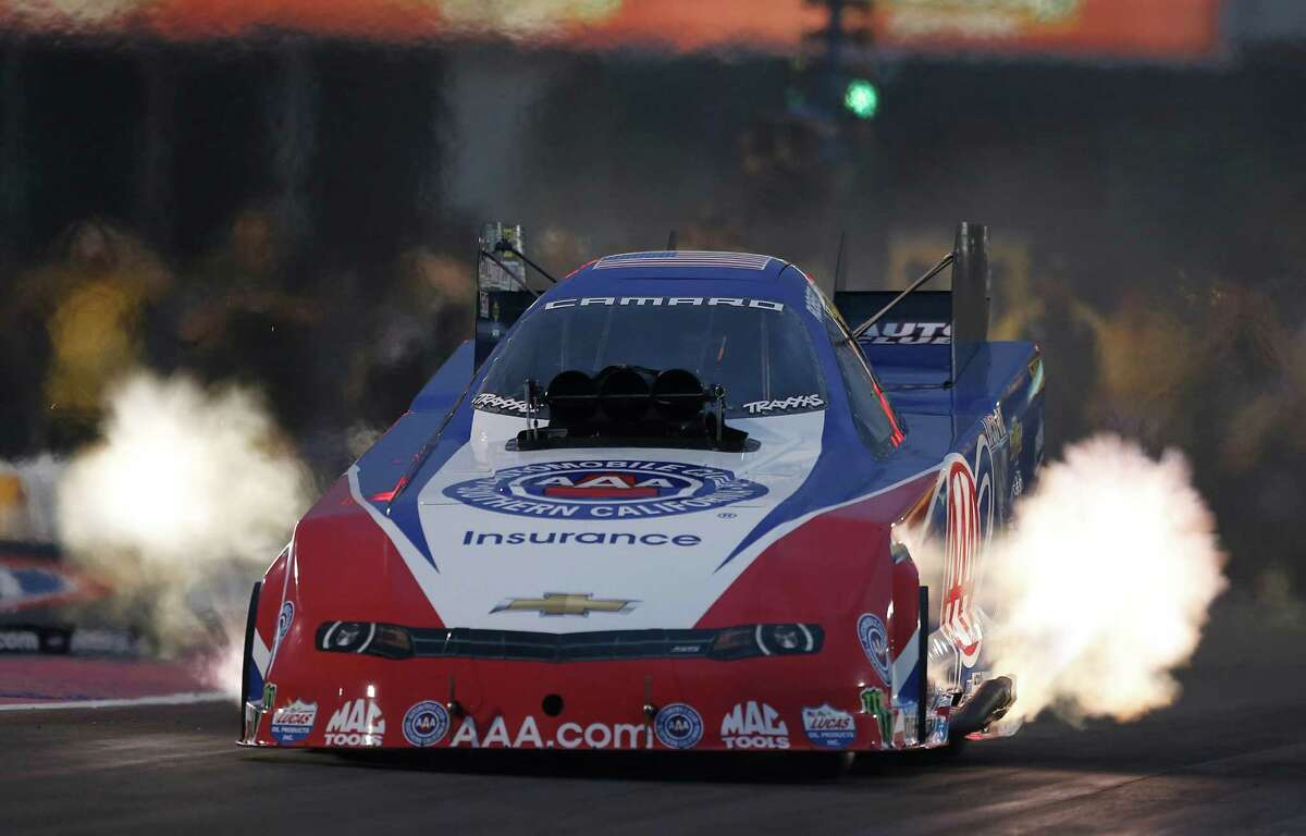 Funny Car driver Robert Hight qualified with a time of 3.953 during the second qualification time at the 29th annual NHRA Spring Nationals at the Royal Purple Raceway on Friday, April 29, 2016 in Baytown, TX.
