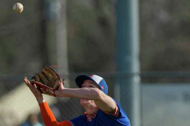 FILE PHOTO: Danbury High School shortstop Eric Cerno catches a fly ball during a baseball game against Trumbull High School played at Trumbull High School, Trumbull, CT on Thursday, April 21, 2016.