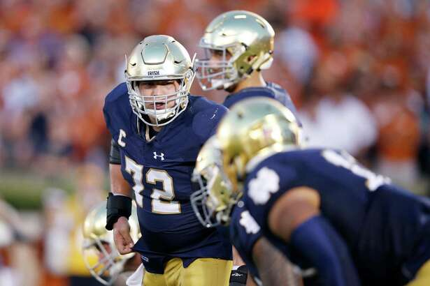SOUTH BEND, IN - SEPTEMBER 5: Nick Martin #72 of the Notre Dame Fighting Irish in action during a game against the Texas Longhorns at Notre Dame Stadium on September 5, 2015 in South Bend, Indiana. Notre Dame defeated Texas 38-3. (Photo by Joe Robbins/Getty Images)