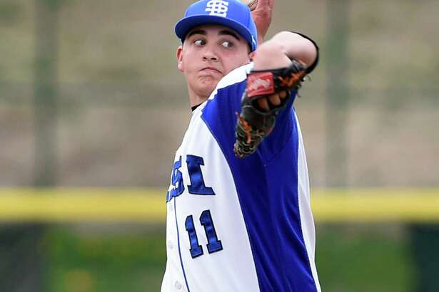 LaSalle pitcher Jerry Burke winds up the pitch during their baseball game against Voorheesville on Friday, April 29, 2016, at Joe Bruno Stadium in Troy, N.Y. (Cindy Schultz / Times Union)