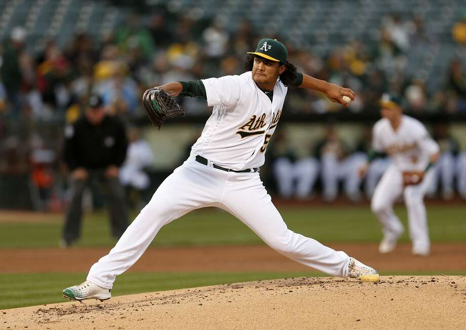 Oakland Athletics starting pitcher Sean Manaea releases the ball during the second inning of his Major League Baseball debut against the Houston Astros on Friday, April 29, 2016 in Oakland, Calif. Photo: Beck Diefenbach, Special To The Chronicle