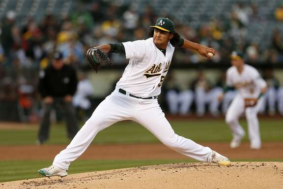 Oakland Athletics starting pitcher Sean Manaea releases the ball during the second inning of his Major League Baseball debut against the Houston Astros on Friday, April 29, 2016 in Oakland, Calif.