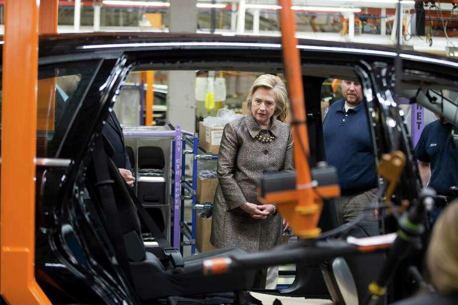 Democratic presidential candidate Hillary Clinton visits an AM General plant, Tuesday, April 26, 2016, in Mishawaka, Ind. (AP Photo/Matt Rourke) Photo: Matt Rourke, STF / AP
