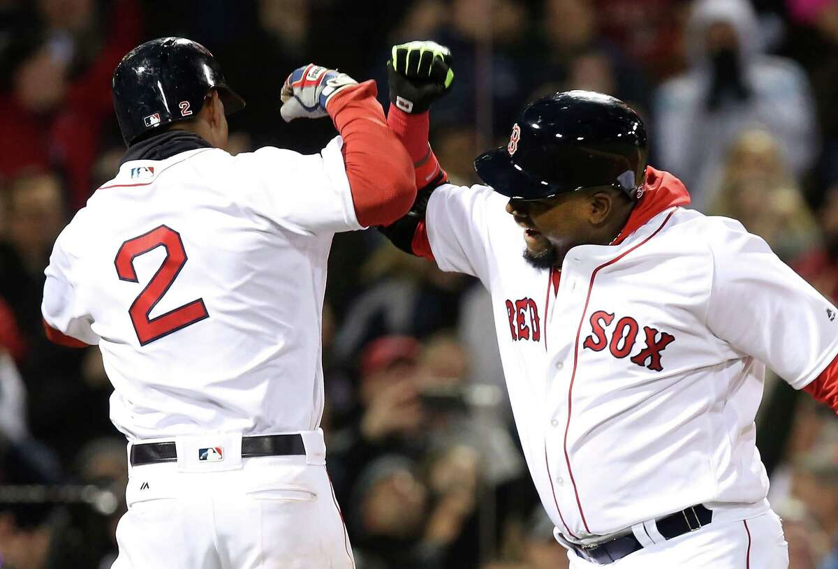 BOSTON, MA - APRIL 29: David Ortiz #34 of the Boston Red Sox celebrates after hitting a two-run home run in the eighth inning during the game against the New York Yankees at Fenway Park on April 29, 2016 in Boston, Massachusetts. (Photo by Adam Glanzman/Getty Images) ORG XMIT: 607676647