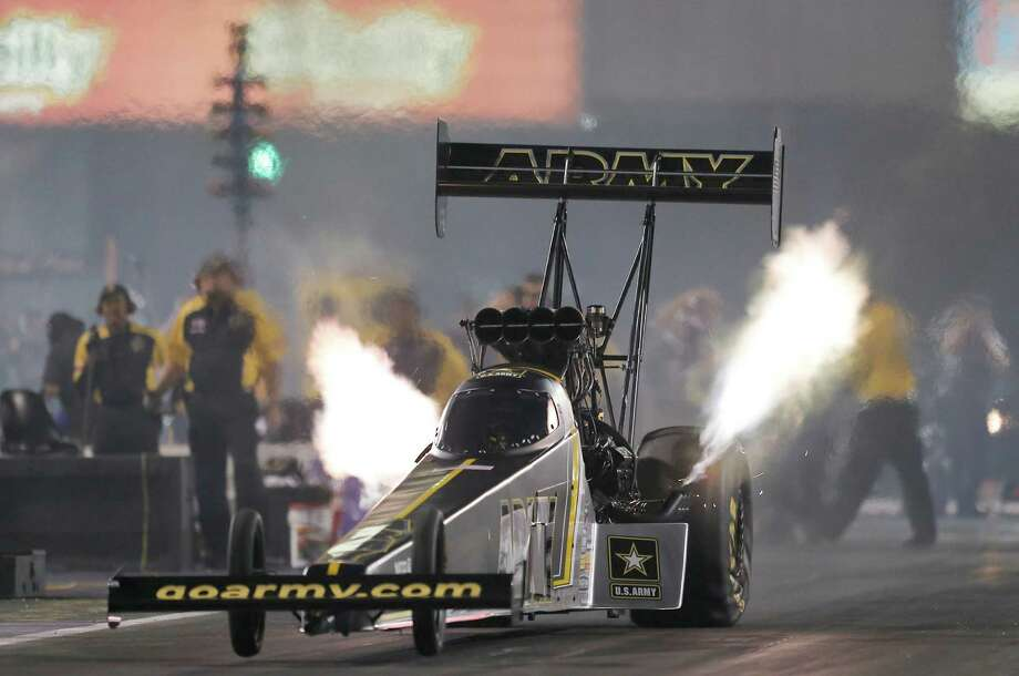 Top Fuel driver Tony Schumacher qualified with a time of 3.766 during the second qualification time at the 29th annual NHRA Spring Nationals at the Royal Purple Raceway on Friday, April 29, 2016 in Baytown, TX. (Photo: Thomas B. Shea/For the Chronicle) Photo: Thomas B. Shea, Freelance / © 2016Thomas B. Shea