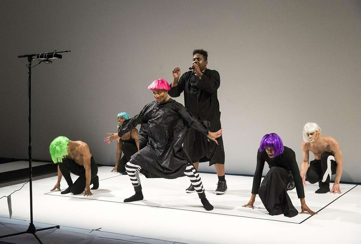 Rashaad Newsome's FIVE is performed during Art Bash, a party to celebrate the reopening of the San Francisco Museum of Modern Art, in the White Box, a new space in the renovated and expanded museum for performance, during the event in San Francisco, Calif., on Friday, April 29, 2016. The museum opens to the general public on May 14.