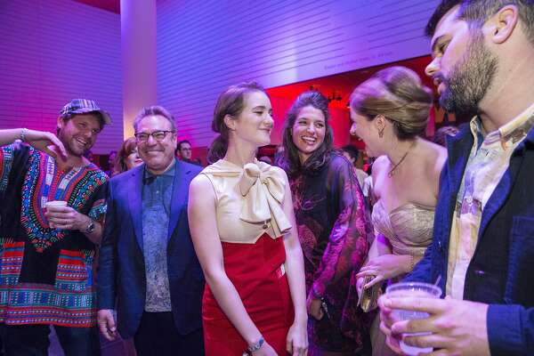 Mark George, Stanlee Gatti, Raphaela Lipinsky, Lexie Geoge and Kelsey Shell (left to right) enjoy the dance floor during Art Bash, a party to celebrate the reopening of the San Francisco Museum of Modern Art after it's renovation and expansion, at the museum in San Francisco, Calif., on Friday, April 29, 2016. The museum opens to the general public on May 14.