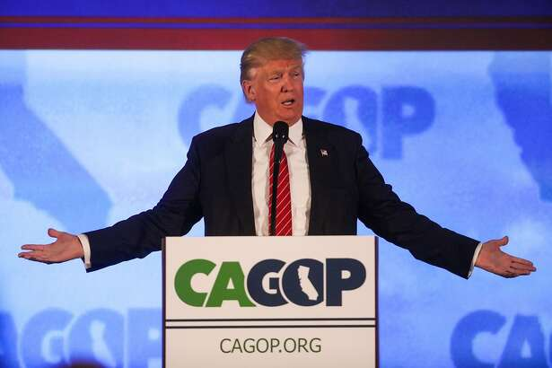 US Republican presidential candidate Donald Trump addresses the California Republican Party 2016 Convention in Burlingame, California,  April 29, 2016.  Hundreds of protesters jostled with police in riot gear outside a California hotel where Republican presidential frontrunner Donald Trump was to give a speech, forcing the candidate to duck into a back entrance. / AFP PHOTO / GABRIELLE LURIEGABRIELLE LURIE/AFP/Getty Images