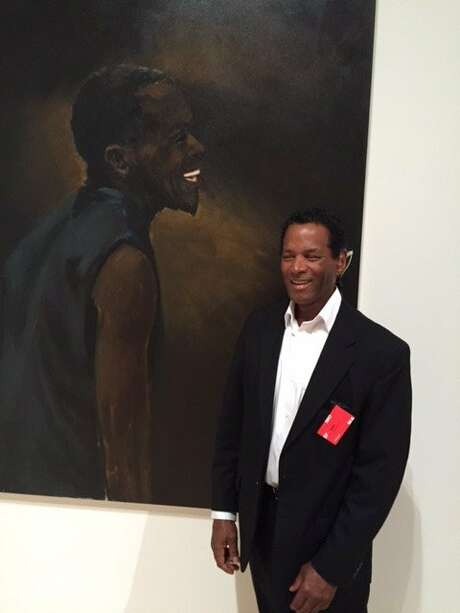 Keith Dupee with portrait by Lynette Yiadom-Boakye at SFMOMA Photo: Leah Garchik