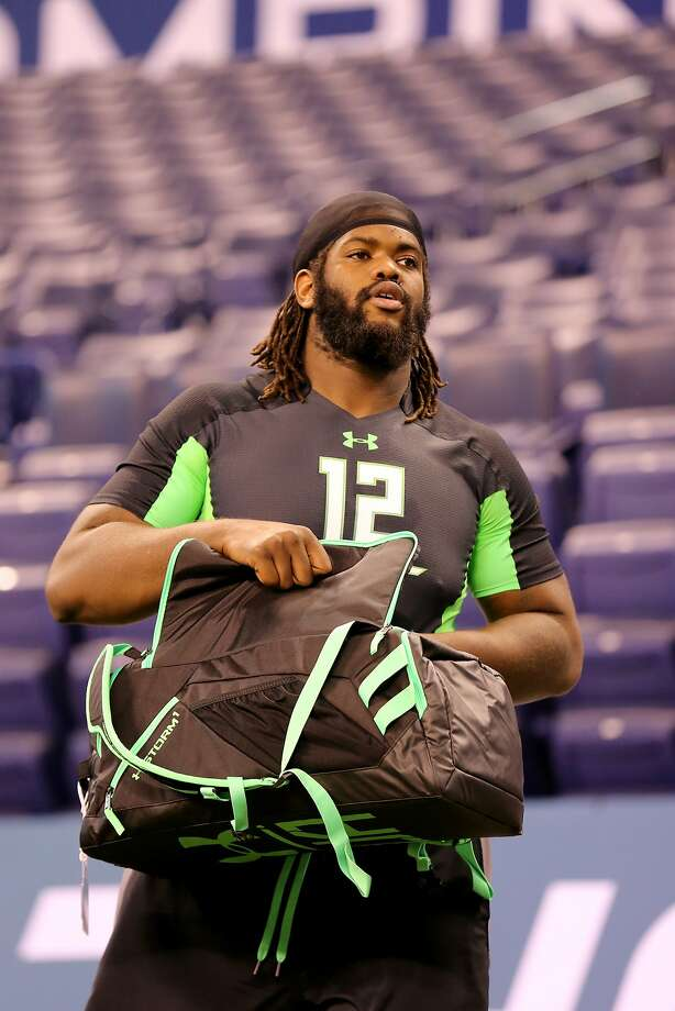 Mississippi offensive lineman Fahn Cooper before a drill at the NFL football scouting combine Friday, Feb. 26, 2016, in Indianapolis. Photo: Gregory Payan, AP