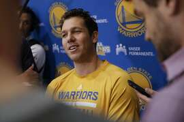Assistant coach Luke Walton of the Golden State Warriors, talks to the media on Sat. April 30, 2016, during a practice session at their downtown facility in Oakland, California, as the team prepares for their match up against the Portland Trailblazers in the semi-finals of the NBA Championship.